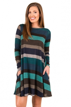 Womens Casual Crew Neck Long Sleeve Wide Stripe Smock Dress Blue