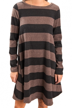 Womens Casual Crew Neck Long Sleeve Wide Stripe Smock Dress Dark Black