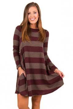 Womens Casual Crew Neck Long Sleeve Wide Stripe Smock Dress Dark Red
