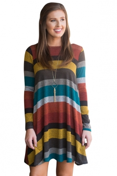 Womens Crew Neck Long Sleeve Wide Stripe Smock Dress Multicolour