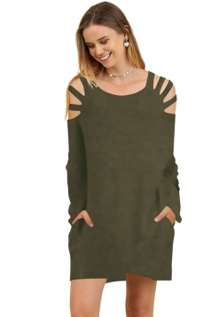 Womens Crew Neck Cut Out Shoulder With Pocket Long Sleeve Army Green