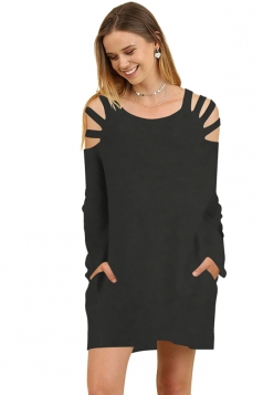 Womens Crew Neck Cut Out Shoulder With Pocket Long Sleeve Black