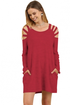 Womens Crew Neck Cut Out Shoulder With Pocket Long Sleeve Ruby