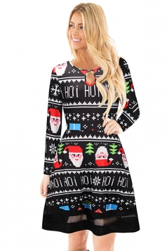 Crew Neck Mesh Hem Santa Snowflake Printed Christmas Dress Dull Black