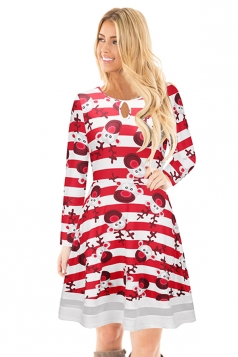 Crew Neck Long Sleeve Mesh Hem Santa Printed Christmas Dress Dark Red
