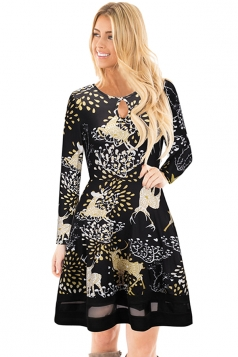 Crew Neck Long Sleeve Mesh Hem Reindeer Printed Christmas Dress Gold