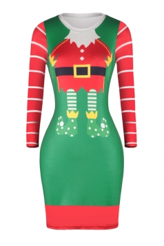 Long Sleeve Merry Christmas Printed Christmas Dress Emerald Green