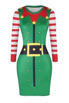 Crew Neck Long Sleeve Santa Helper Printed Christmas Dress Green