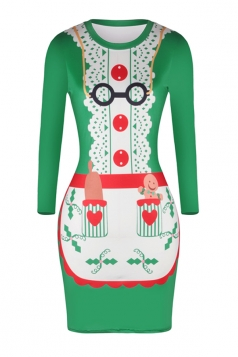 Womens Long Sleeve Bodycon Reindeer Printed Christmas Dress White