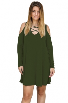Womens V-Neck Cut Out Cold Shoulder Long Sleeve Smock Dress Army Green