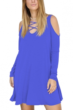 Womens Sexy V-Neck Cut Out Cold Shoulder Long Sleeve Smock Dress Blue