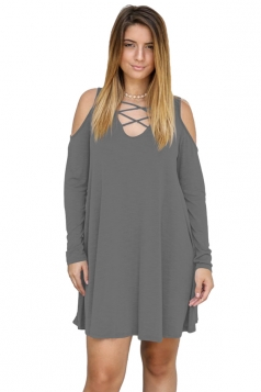 Womens V-Neck Cut Out Cold Shoulder Long Sleeve Smock Dress Dark Gray