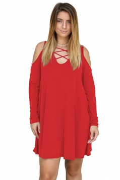 Womens Sexy V-Neck Cut Out Cold Shoulder Long Sleeve Smock Dress Red