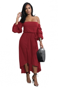 Womens Sexy Off Shoulder Bell Tiered Sleeve High Low Maxi Dress Ruby