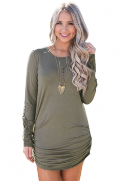 Womens Sexy Lace Long Sleeve Ruffled Tunic Bodycon Dress Army Green