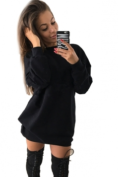Womens Oversized Crew Neck Long Sleeve Plain Dress Black