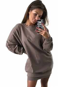 Womens Oversized Crew Neck Long Sleeve Plain Dress Coffee