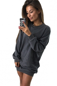 Womens Oversized Crew Neck Long Sleeve Plain Dress Dark Gray