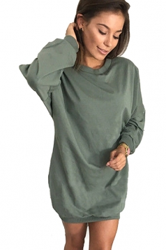 Womens Oversized Crew Neck Long Sleeve Plain Dress Green
