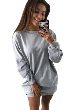 Womens Oversized Crew Neck Long Sleeve Plain Dress Light Gray