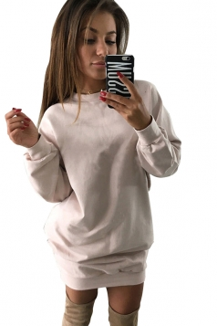 Womens Oversized Crew Neck Long Sleeve Plain Dress Pink