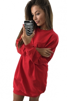 Womens Oversized Crew Neck Long Sleeve Plain Dress Red