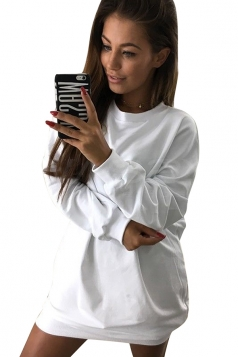 Womens Oversized Crew Neck Long Sleeve Plain Dress White