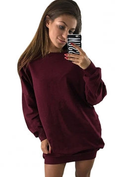 Womens Oversized Crew Neck Long Sleeve Plain Dress Ruby
