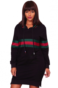 Womens Drawstring Side Slit Long Sleeve Striped Hoodie Dress Black