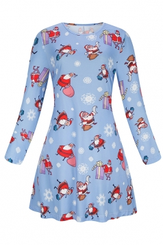 Womens Midi Sleeve Santa Snowman Printed Christmas Dress Light Blue