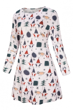 Womens Midi Sleeve Christmas Tree Santa Printed Skater Dress Navy Blue