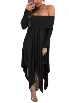 Womens Sexy Long Sleeve Oversized Asymmetrical Hem Tube Dress Black