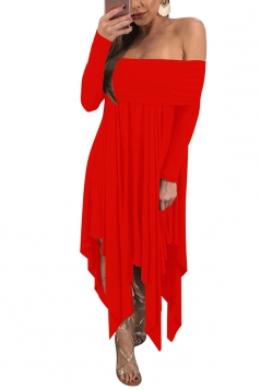 Womens Sexy Long Sleeve Oversized Asymmetrical Hem Tube Dress Red