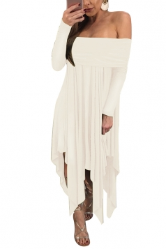 Womens Sexy Long Sleeve Oversized Asymmetrical Hem Tube Dress White