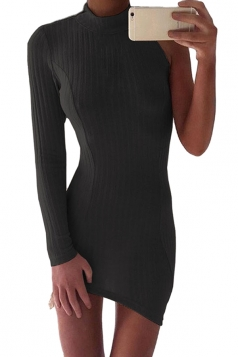 Womens Sexy High Collar One Side Sleeve Knit Bodycon Dress Black