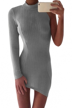 Womens Sexy High Collar One Side Sleeve Knit Bodycon Dress Gray