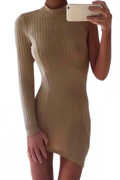 Womens Sexy High Collar One Side Sleeve Knit Bodycon Dress Khaki