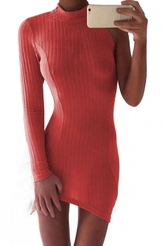 Womens Sexy High Collar One Side Sleeve Knit Bodycon Dress Ruby