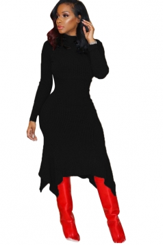 High Collar Long Sleeve Asymmetrical Hem Bodycon Sweater Dress Black