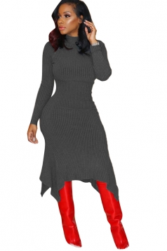 Womens Long Sleeve Asymmetrical Hem Bodycon Sweater Dress Dark Gray