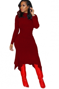 High Collar Long Sleeve Asymmetrical Hem Bodycon Sweater Dress Ruby