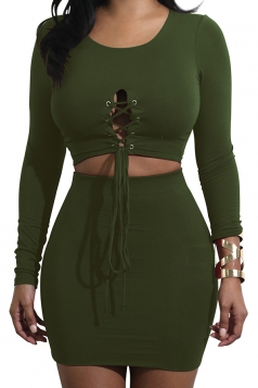 Womens Long Sleeve Cross Lace Up Crop Top&Skirt Dress Suit Army Green