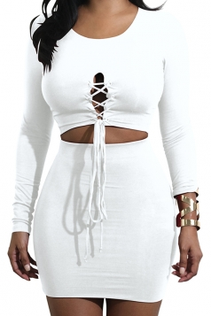 Womens Sexy Long Sleeve Cross Lace Up Crop Top&Skirt Dress Suit White