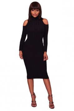 Womens High Collar Cold Shoulder Long Sleeve Midi Sweater Dress Black