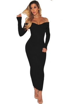 Off Shoulder Long Sleeve Textured Bodycon Maxi Sweater Dress Black