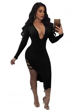 Womens Deep V-Neck Long Sleeve Side Slit Cut Out Clubwear Dress Black