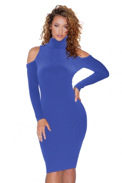 High Collar Cold Shoulder Long Sleeve Textured Sweater Dress Blue