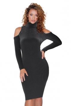 High Collar Cold Shoulder Long Sleeve Textured Sweater Dress Black