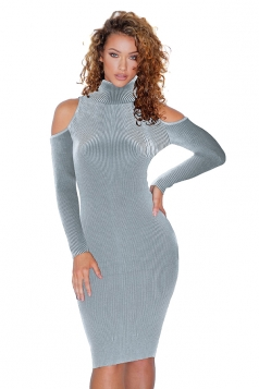 High Collar Cold Shoulder Long Sleeve Textured Sweater Dress Light Gray