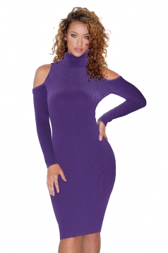High Collar Cold Shoulder Long Sleeve Textured Sweater Dress Purple